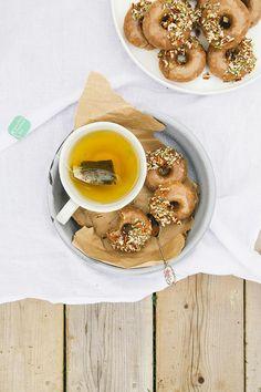 Vegan GF Maple Doughnuts with Salted Almond Butter Glaze