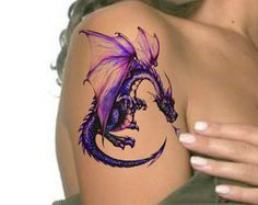 Amazing Watercolor Dragon Tattoo On Girl Right Shoulder