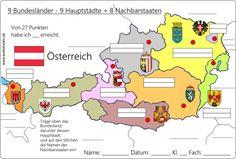 9_Bundesländer-Österreich-Austria-A Geography Lessons, Capital City, Diy For Kids, Worksheets, Life Hacks, Kindergarten, Germany, Teaching, Education