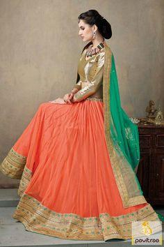 Look very fashionable with orange and green net lehenga choli online with discount offer. It is great to have online shopping of this ghagra choli with offer. #lehengacholi, #Lehengastyle, #navaratrigarbacholi, #chaniyacholi, #ghaghracholi, #weddingbridalcholi, #discountoffer,   #festivalcholi, #pavitraafashion, #utsavfashion http://www.pavitraa.in/store/lehengha-choli/ callus:917698234040