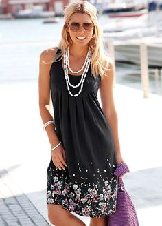 Beachtime Black Petal Print Sun Dress