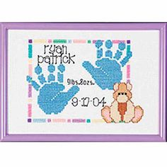 "Janlynn Special Moments Baby Handprints Mini Counted Cross-Stitch Kit, 7"" x 5"""