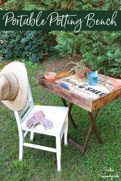 small potting bench Diy Outdoor Furniture, Repurposed Furniture, Office Furniture, Old Dresser Drawers, Folding Workbench, Vintage Decor, Vintage Glam, Outdoor Living, Diy Home Decor