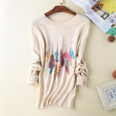 Spring New round neck pure Cashmere Sweater women feather printing Cashmere pullover Sweater shirt Fashion Slim knitting Sweater