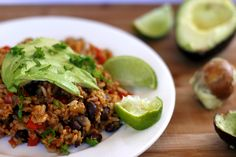 Mexican Refried Rice with a Twist. This Mexican rice is rich in flavour and contains black beans brussel sprouts and avocado. It is such a delicious and healthy meal! Vegan Mexican Recipes, Super Healthy Recipes, Ethnic Recipes, Vegan Recipes, Cleanse Recipes, Soup Recipes, Cooking Recipes, Recipies, Dinner Recipes