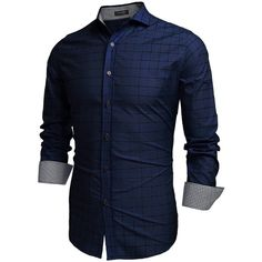 Coofandy Men's Fashion Long Sleeve Plaid Button Down Casual Shirts (Small, Blue) for Like the Coofandy Men's Fashion Long Sleeve Plaid Button Down Casual Shirts (Small, Blue)? Urban Outfits, Casual Outfits, Fashion Outfits, Fashion Styles, Casual Shirts For Men, Men Casual, Men Shirts, Collar Shirts, Shirt Style
