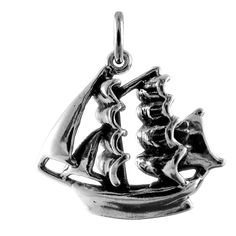Sterling Silver 3D Pirate Ship Charm