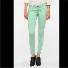 """Urban outfitters mint color high rise jeans, 26/30 mint color cigarette high rise jeans from urban outfitters, size 26/30, NWT. They run true to size on me, I wear size 26 most of the time. Cotton blend material, softy and stretchy. Length approx.39"""", inseam 30"""", rise 9"""", hips 16"""", waist 12.75"""". No trade PayPal or hold. No lowballing please! Thanks! Urban Outfitters Jeans Skinny"""