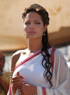Greek hairstyle. Angelina Jolie. Half-up, half-down.