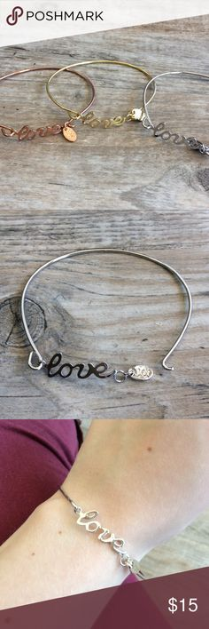 "🆕 OJDC HWN ""Love"" Bangle Made in Hawaii by a good friend of mine, her talents are far beyond words // keep a small piece of the Hawaiian islands with you with these beautifully crafted stainless steel bracelets // also available in gold & rose plating // fits wrists 6.75""-8"" // hypoallergenic, lead and nickel free OJDC Jewelry"