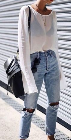 summer outfits White Top + Destroyed Jeans