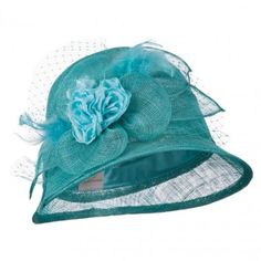 Flower Accent Cloche Sinamay Hat - Turquoise