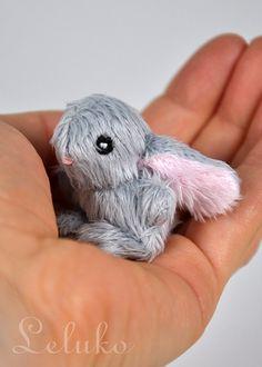 OOAK Leluko tiny bunny 2 stuffed toy plushie hand by LelukoToys