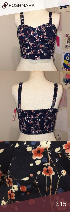 Floral crop top NWT Blue fun floral crop top never worn! Still with tags!  **Can ship the same day** **Offers are always accepted** Xhilaration Tops Crop Tops