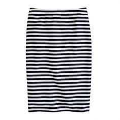 J.Crew No. 2 pencil skirt in navy-white stripe ($118) ❤ liked on Polyvore featuring skirts, bottoms, long skirts, below knee length pencil skirts, long striped skirt, below knee pencil skirt and stripe long skirt