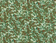 Scrolling leaves-dark green/ brown on light mint with metallic gold 100% cotton