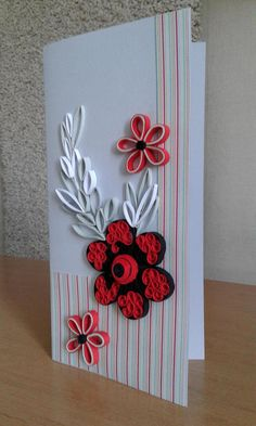 Original greeting card, made in the quilling technique. Fantasy flower ornament. This is a great way to make a gift to anyone. The size is 21 x 10,5 cm (8,3 x 4 inches). I will send the card with registered post to ensure that you will receive. If you want, I can make another