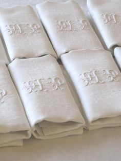 12 Antique French Linen Damask Napkins by VintageFrenchFinds