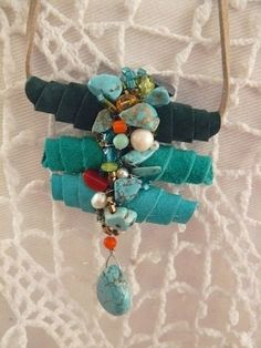 Cocoon necklace made of suede with crystals stones and pearls (Adriana Medeir fabric beads Fiber Art Jewelry, Mixed Media Jewelry, Textile Jewelry, Fabric Jewelry, Boho Jewelry, Jewelry Crafts, Jewelry Art, Beaded Jewelry, Handmade Jewelry