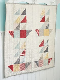 Boat Quilt using half square triangles