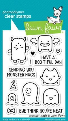 Lawn Fawn Monster Mash Clear Stamp Set - 7 Kids Your Crafting Supply Store