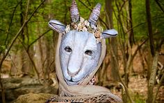 Mask Amalthea Goat Paper Mask  Animal  Mask Goat Amalthea Paper mache  Mask Halloween Mask