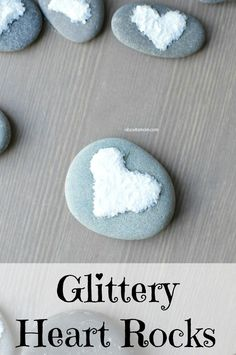 Glittery Heart Rock Craft. Use the rocks you have collected from your trips, or from your back yard to make this fun craft for kids.