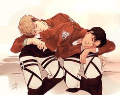 Attack on Titan ~~ Battle fatigue is as good an excuse as any to cuddle... :: Jean x Marco