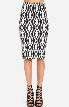 Tribal Pencil Skirt - just above the knee (than than just below) is usually more flattering