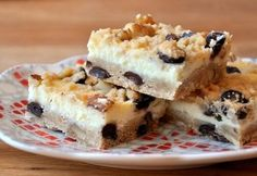 Chocolate chip cookie dough cheesecake bars from Baking Bites