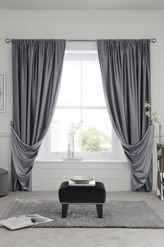 Give an elegant finish to any space with these reversible slot top curtains. Give an elegant finish to any space with these reversible slot top curtains. Keeping out the rays just got prettier! Grey Curtains Bedroom, Luxury Curtains, Home Curtains, Modern Curtains, Window Curtains, Living Room Blinds, Living Room Grey, Living Room Modern, Living Room Decor