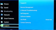 Photos of the Samsung UN46F8000 46-inch LED/LCD Smart TV: Samsung UN46F8000 LED/LCD Smart TV - Photo - Support Menu