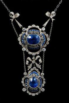 Antique Sapphire and Diamond Pendant Necklace