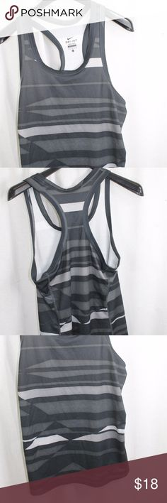 """WOMENS NIKE BLACK GRAY DRI-FIT TANK TOP LARGE SIZE:     LARGE  ARMPIT - TO - ARMPIT:     16""""  LENGTH DOWN BACK:     26""""  STYLE:     LOOSE TANK  MATERIAL:    100% POLY  CONDITION:        BRAND NEW WITHOUT TAGS. SOURCED DIRECTLY FROM A NATIONAL UPSCALE U.S. RETAILER. QUALITY AND AUTHENTICITY GUARANTEED!    2-5-G Nike Tops Tees - Short Sleeve"""