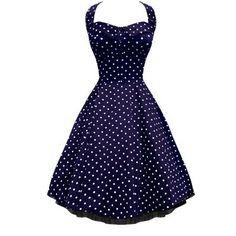 Lafrock Audrey Navy Polka Dot Dress 1950...