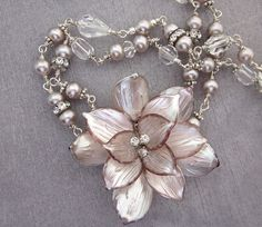 Vintage Repurposed Glass Flower Necklace, OOAK Pearl and Rhinestone Necklace, Collar Necklace, Crystals, Silver, Pink, Assemblage Jewelry
