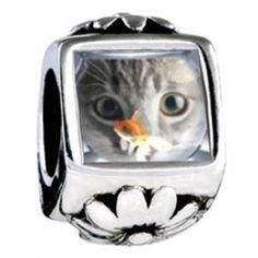 Fishbowl And Cat Photo Flower Charms  Fit pandora,trollbeads,chamilia,biagi,soufeel and any customized bracelet/necklaces. #Jewelry #Fashion #Silver# handcraft #DIY #Accessory