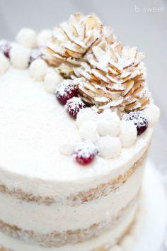 almond pine cones + eggnog cake + winter berries + cake topper + snow