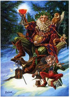 "Festive Druid Greeting Card - ** This is the last of these we can get this season **Goblet raised on high, the old Holly King celebrates the end of his reign as winter reaches its turning point. Card measures 6 3/4"" by 4 3/4"""