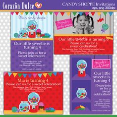 These fun and colorful invitation templates  are perfect for kids parties, baby shower, birthday party, thank you cards, scrapbooking and many more!