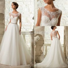 Princess Wedding Dresses 2015 Plus Size A Line Tulle Appliques Beads Waist Bridal Gowns See Through Back Robe De Mariee