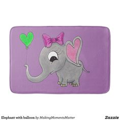 Elephant with balloon bath mats