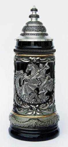 St. George the Dragon Slayer Beer Stein - GermanSteins.com