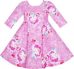 Girls Dress Pink Flower Print 34 Sleeve Autumn Winter Size 10 -- Visit the image link more details. Girls Dresses Sewing, Girls Pageant Dresses, 10 Years Girl Dress, Pink Flower Girl Dresses, Flower Girls, Diy Dress, Dress Party, Party Dresses, Everyday Dresses