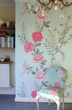 chinoiserie grande in my dining room. Sarah Hardaker fabrics and wallpaper