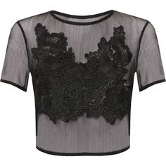 Malia Lace Mesh Crop Top (36 CAD) ❤ liked on Polyvore featuring tops, black, lacy tops, floral crop top, short sleeve crop top, mesh top and sheer top