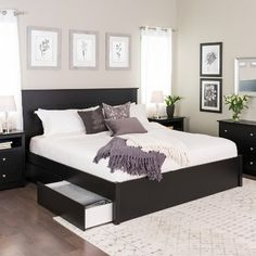 King Select 4 - Post Platform Bed With 4 Drawers Black - Prepac : Target Black Bedroom Furniture, Bed Furniture, Home Decor Bedroom, Master Bedroom, Barbie Furniture, Furniture Design, Garden Furniture, Black Bedroom Decor, Master Suite
