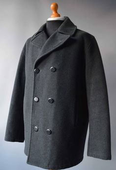 36e5204f09e32 Mens Grey Henri Lloyd Lightly Quilted Wool Blend Peacoat   Jacket size L  Large.