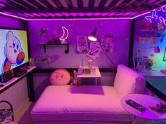 Cute Bedroom Decor, Bedroom Setup, Room Design Bedroom, Room Ideas Bedroom, Neon Bedroom, Bedroom Layouts, Cute Room Ideas, Gaming Room Setup, Kawaii Room