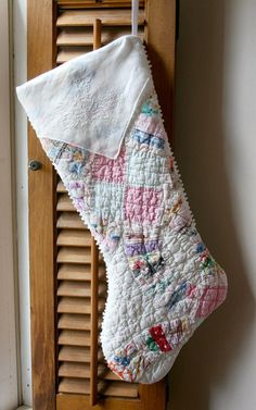 vintage hankie stockings | Christmas Stocking from Vintage Quilt by TheHeirloomShoppe on Etsy, $ ...